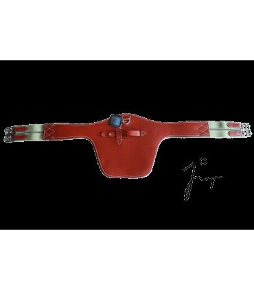 Sangle bavette avec élastique en cuir