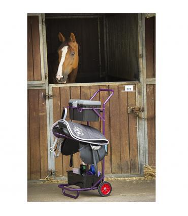 Chariot d'écurie avec support de pansage et porte selle
